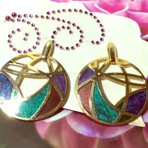 Really cool 90's vintage tri-color metal earrings